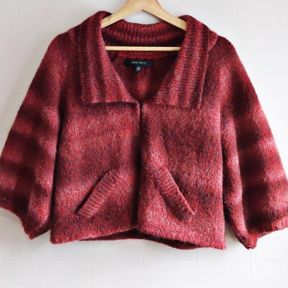 Cropped ardigan red pink NINE WEST knit vest